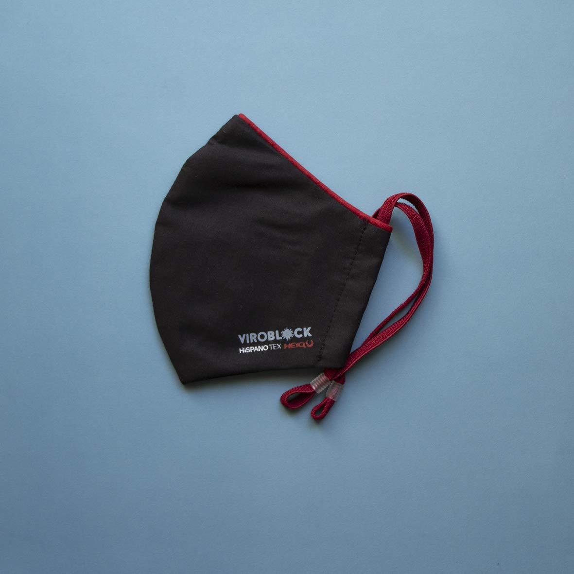 VIROBLOCK - Mascarilla de Tela Lavable - Mascarillas Reutilizables - Antiolor, Cómodas y Adaptables - Compatible con la norma UNE 0065 : 2020 - Fabricada en España (Talla Grande, Negra - Ribete Rojo)