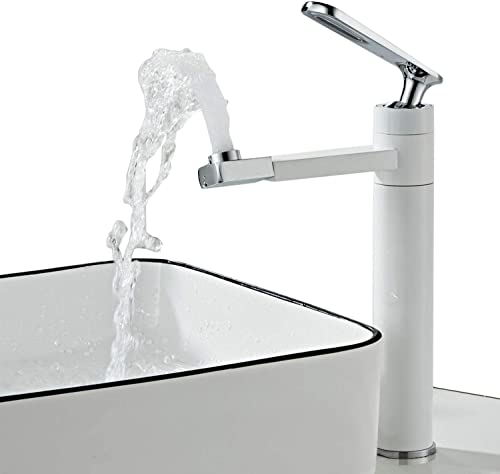 Single Handle One Hole Bathroom Sink Faucet with Rotating Spout,7.8 inch Washbasin Lavatory Vessel Mixer Tap White Motorhome RV Travel Trailers Campers Faucets