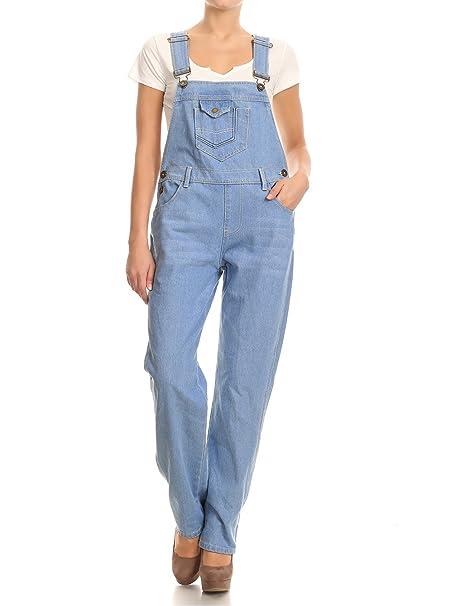 Anna-Kaci Dril de algodón de Las Mujeres Blue Jeans Rectos Bolsillos Tipo Peto Pantalones de Cintura pantalón Vaquero