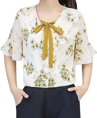 MOTOCO Camisa de Mujer Punto de Flor Estampado Manga Corta ...