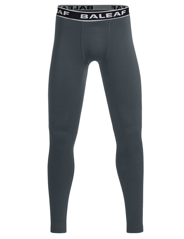 Baleaf Youth Boys' Compression Thermal Baselayer Tights Fleece Leggings Gray Size L