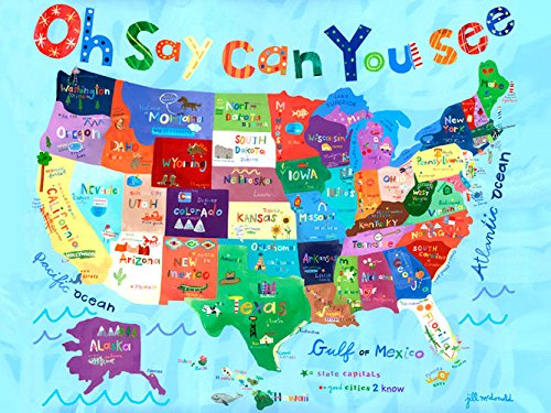 Oopsy Daisy Oh Say Can You See Usa Map Canvas Wall Art