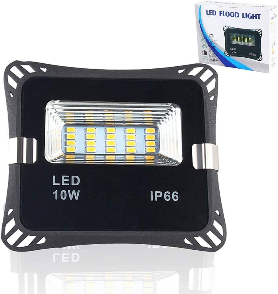 Auto On/Off LED Flood Light Dusk to Dawn Sensor Security Light IP66 Waterproof 900LM 180° Beam Angle Outdoor Flood Light Street Night Lighting for Garden Yard Gate Aisle (Warm White, 10W)