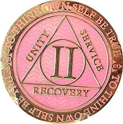 37 Year AA Medallion Blue Gold Plated Alcoholics Anonymous Sobriety Chip Coin