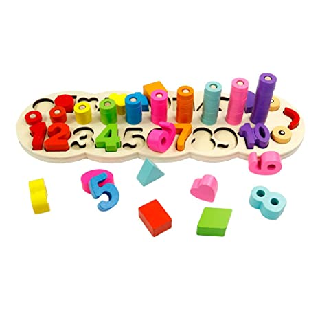 bd584217d8b3 Amazon.com  GEDIAO Wooden Montessori Math Blocks Shape Sorter Number and  Stacking Learning Toys for Kids Preschool Counting