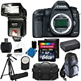 Canon EOS 5D Mark III 22.3 MP Full Frame CMOS with 1080p Full-HD Video Mode Digital SLR Camera (Body) + Extra Battery + Bower SFD728C TTL Zoom Shoe Mount Flash + Tripod + DSLR Backpack + with 64GB Complete Deluxe Accessory Bundle And More!