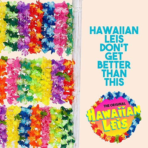 Flag & Eagle Hawaiian Leis Luau Party Supplies: Premium Quality Soft Feel Fabric - Juicy Color Flower Lei Design - Set of 30 Tropical Necklaces - The Original Quality Leis