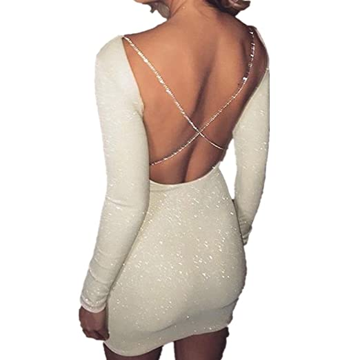 2555c14ead9a5 Hot Sale! Women Sexy Backless Glitter Long Sleeve Mini Cocktail Party Club  Bodycon Dresses