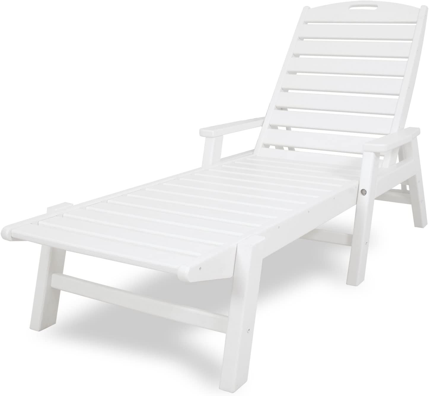 POLYWOOD NCC2280-WH Nautical Arms Chaise, White