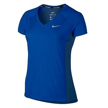 9e1379949f5f Nike Femme Miler Dry Top Manches Courtes col en V.  Amazon.fr ...