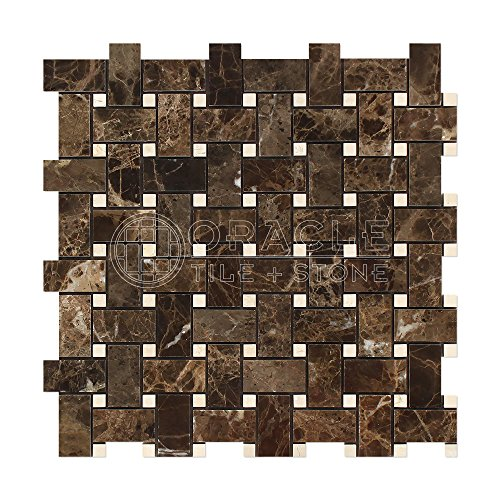 - Emperador Dark Spanish Marble Marble Basketweave Mosaic Tile with Crema Marfil Marble Dots, Polished