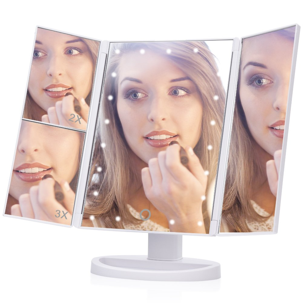 Lighted Makeup Mirror, EECOO 21 Led Lights Trifold Vanity Mirror with Touch Screen,1X 2X 3X Magnification and 180 Degree Adjustable Stand Travel Mirror for Countertop Cosmetic Makeup (USB Cable,White)