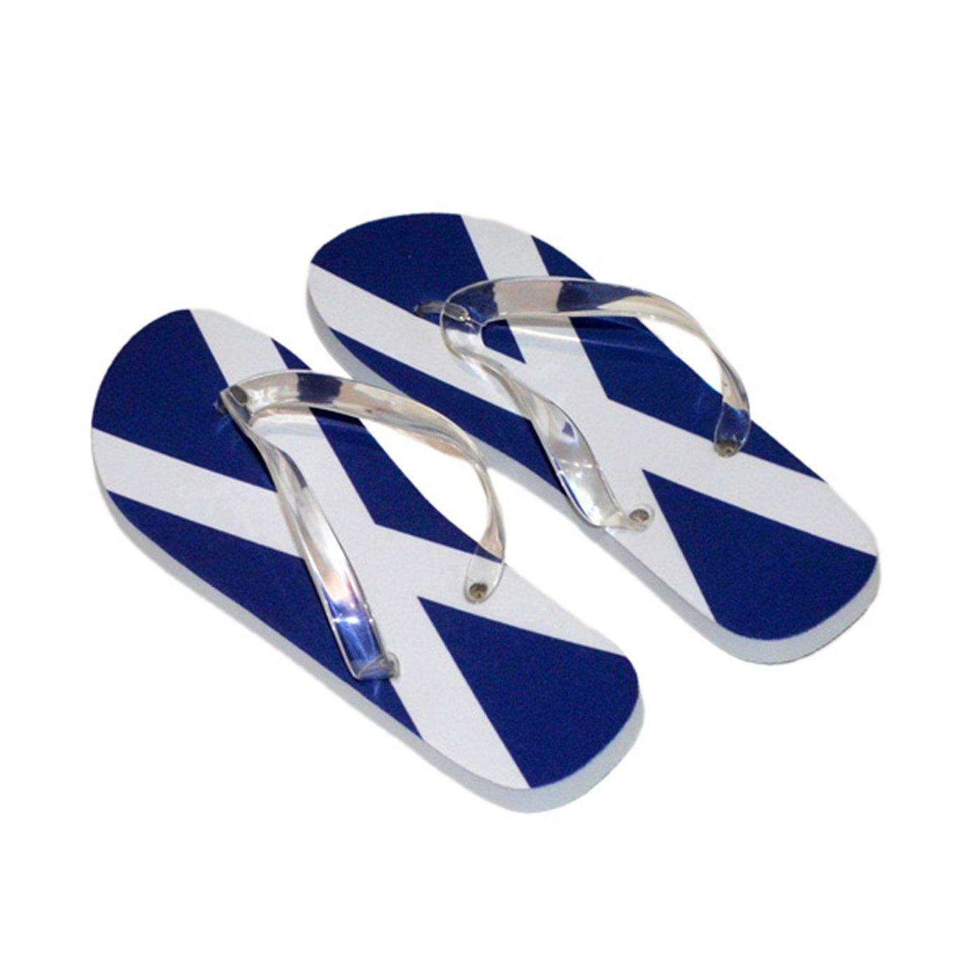4f3995fc40fcdd Saltire Scottish Scotland Flag Mens Flip Flops (Blue Sole and Blue Straps  UK Shoe 7