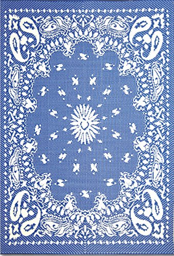 Mad Mats® Bandana Indoor/Outdoor Floor Mat, 4 by 6 Feet, Blue