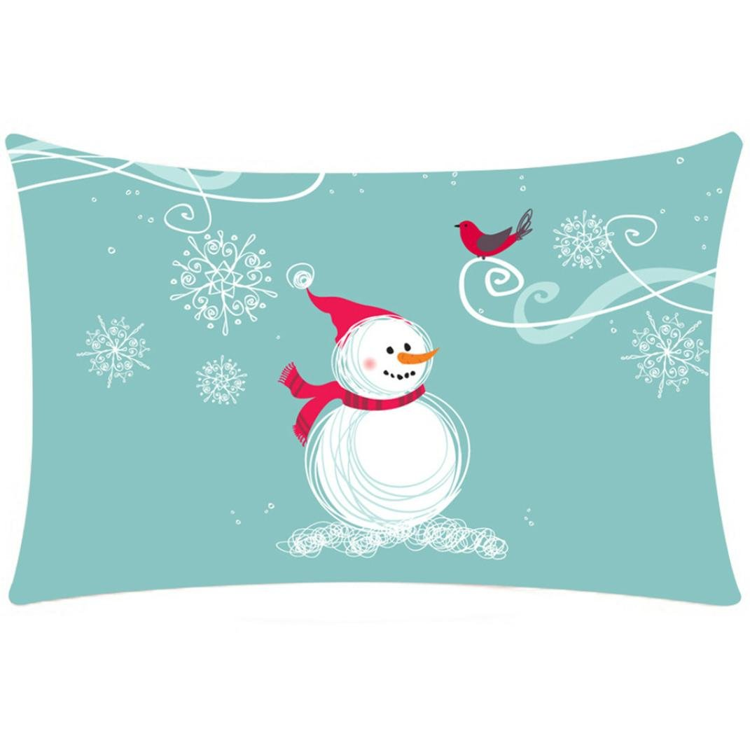 50*30cm Pillow Case, HUHU833 Christmas Pillow Cover Sofa Waist Throw Cushion Cover Rectangle (A)