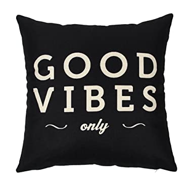 Ogiselestyle Quote Cotton Linen Home Decorative Throw Pillow Case Cushion Cover for Sofa Couch, 18  x 18  (Good Vibes Only)