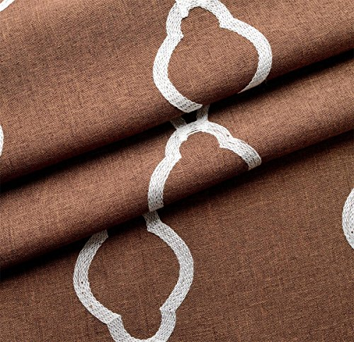 MIUCO Moroccan Embroidered Semi Sheer Curtains Faux Linen Grommet Curtains for Doors 52 x 63 Inch 2 Panels, Brown
