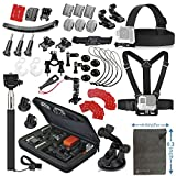 Vanwalk Essentials Accessories Kit for GeekPro 2.0 3.0 4.0 WIFI HD 2.0 Plus DBPOWER Waterproof Action Cam,Vaule Bundle kit for GoPro Hero 5, Session 5, Hero 3 2 1 4 3+ Black, Silver(12 Items)