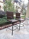 Set of 2 Premium Outdoor Wicker Swivel Bar Stools