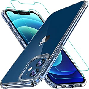 iPhone 12 case, iPhone 12 pro Case,[Airbag Series] with [2xScreen Protector] [ Military Grade ] | 15Ft. Drop Tested [Scratch-Resistant] for Apple iPhone 12 Pro/iPhone 12 6.1 Inch- Clear