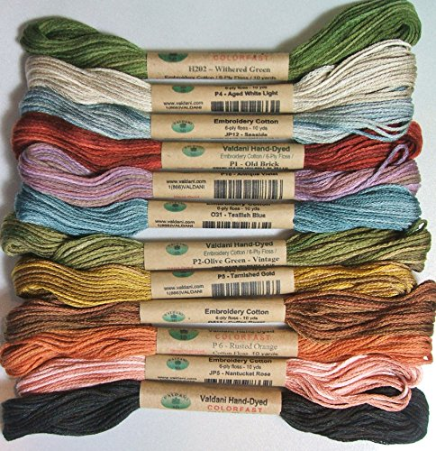(12 Valdani 6 Ply Strand Floss Embroidery Thread Bonnie Sullivan's Favorites 10 Yard Skeins)