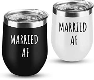 Couple Gifts Married AF Wine Tumbler Wedding Anniversary Bridal Shower Engagement Valentine's Day Birthday Gifts for Couples Newlyweds Bride Husband Wife Women 12 oz Black and White