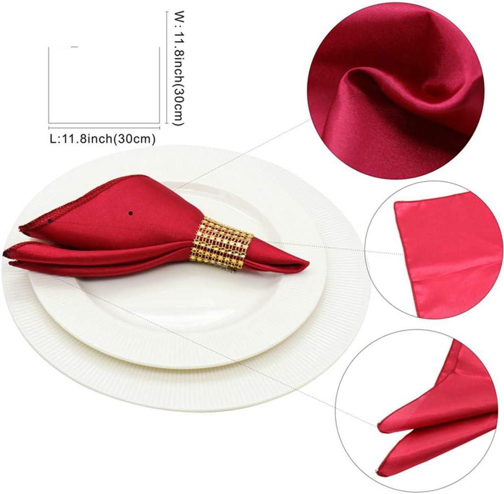 Aomerrt 50 pcs 30 cm Serviettes de Table Tissu Carr/é Satin Tissu Serviette De Poche Mouchoir pour Mariage Anniversaire Maison de f/ête H/ôtel Or Blanc Or