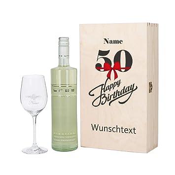 Top Marken Sonderteil angenehmes Gefühl Herz & Heim® Bree Wein-Präsent zum 50. Geburtstag mit graviertem Weinglas  und Bree Wein zur Auswahl in Geschenkkiste Weiß