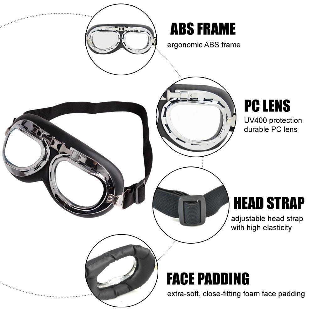 Transparent Motorradbrille Motorrad Schutzbrille Raf Aviator Vintage Pilot Biker Cruiser Fliegerbrille Windproof Sun UV Helmmaske Eyewear Sport Skibrille Schutzbrille Dekoration Requisiten