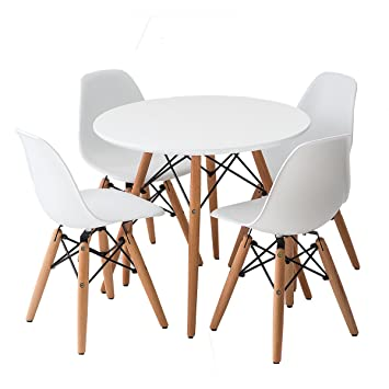 Amazoncom Buschman Set of White Eames Style Kids Dining Room Mid