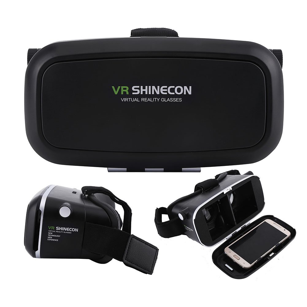 Fosa Virtual Reality Headset 3D VR Glasses Goggles for 3.5''-6.0'' Android iOS Smartphones(Black)