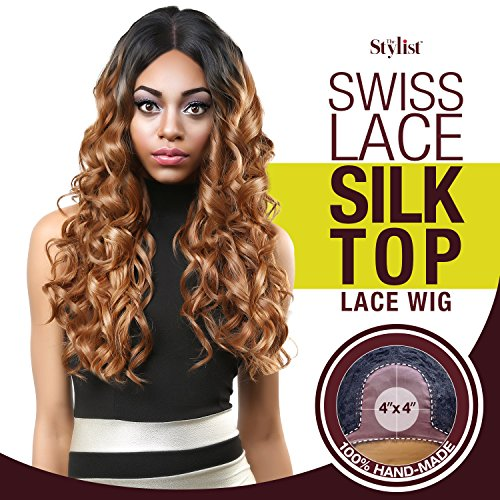 The Stylist Synthetic Lace Front Wig Swiss Lace Silk Top Curl-A-Licious (1B) (Silk Top Lace Wig With Hidden Knots)