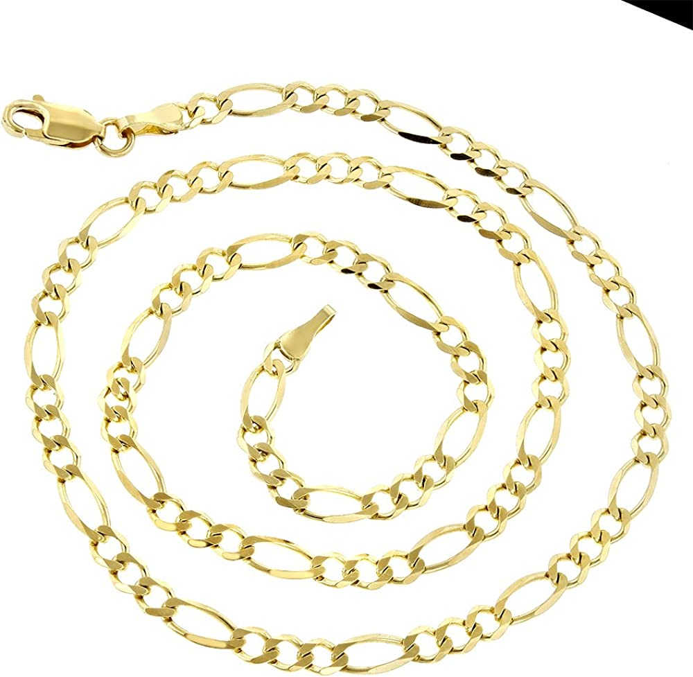 Luxurman 14k Yellow Solid Gold 2.8mm Diamond Cut Figaro Chain Necklace Bracelet or Anklet Lobster Clasp