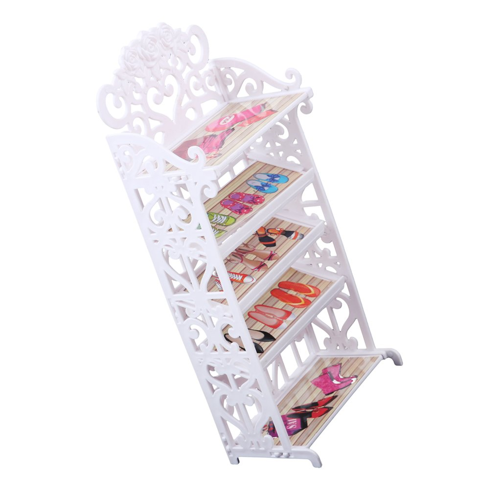 Baoblaze Popular Doll Mini White Shoe Rack Cabinet for Barbies Classic Dollhouse Furniture