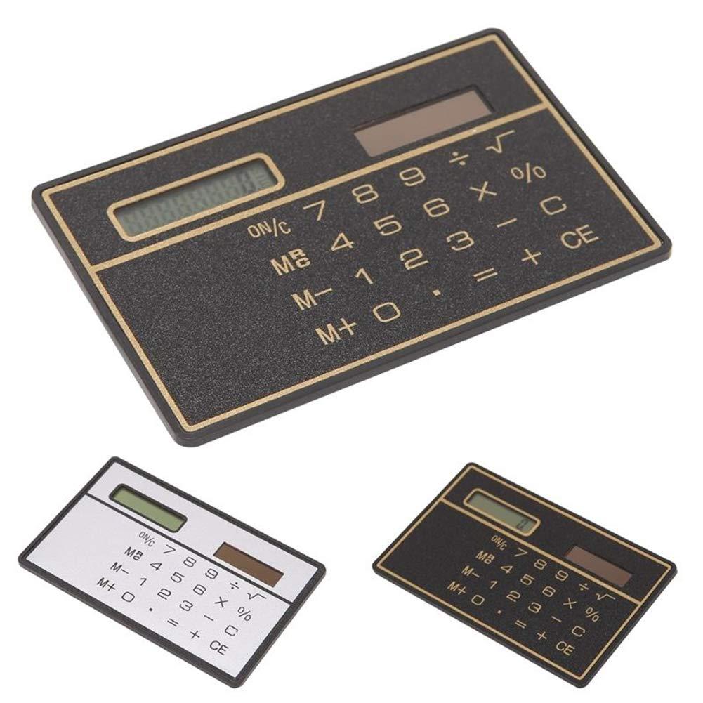 Energia solare carta di credito calcolatrice, calcolatrice tascabile a cifre, ultra sottile per scuola/ufficio/viaggio free size Nero WSDF