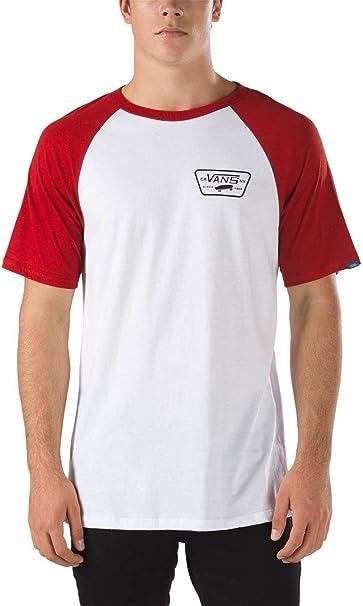 T-Shirt Manches Raglan Vans Full Patch Blanc-Rouge Dahlia ...
