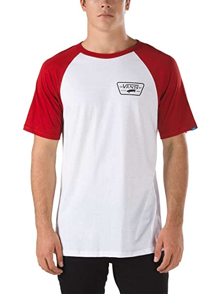 Camiseta Con Mangas Raglan Vans Full Patch Blanco-Rojo Dahlia (Xl , Blanco)