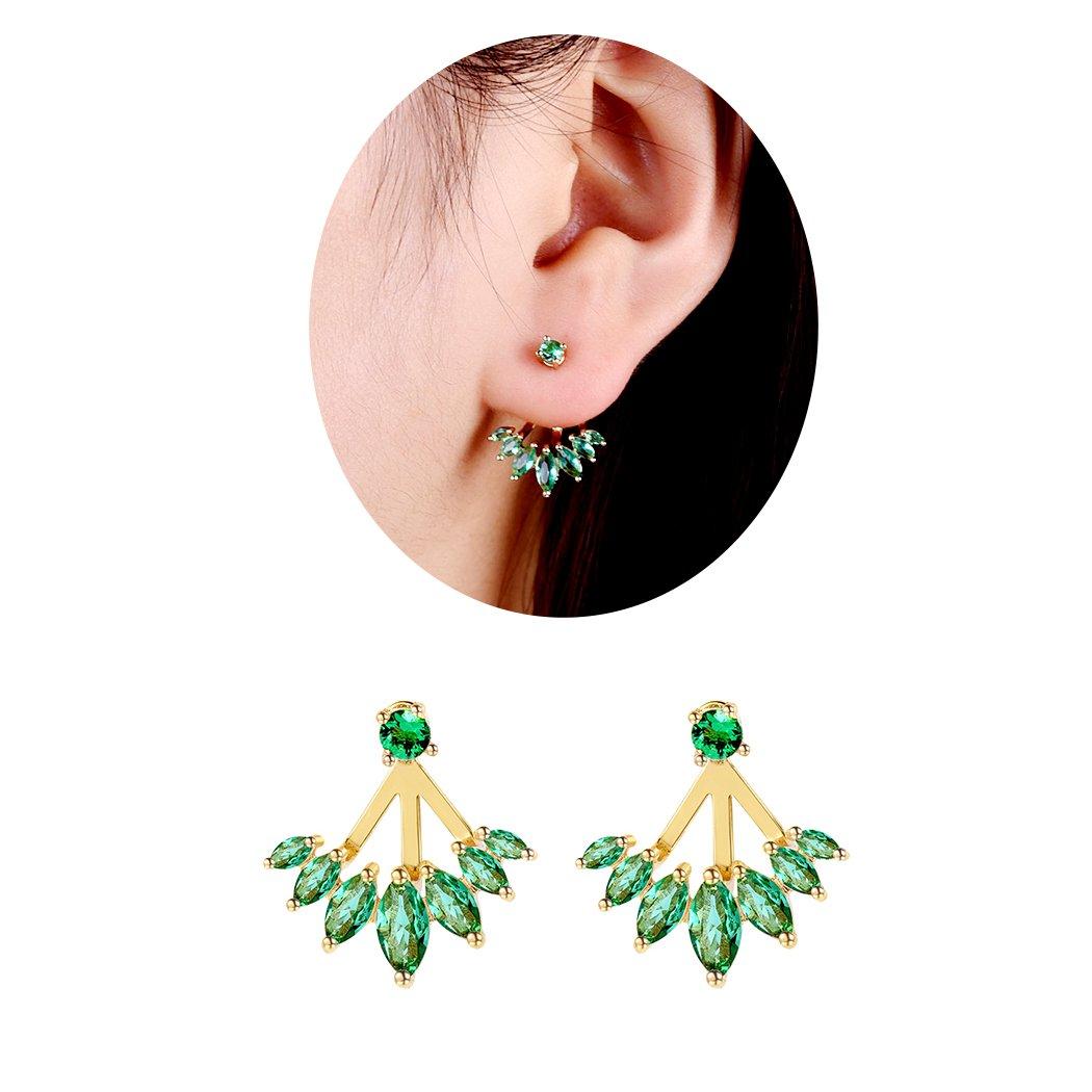 Suplight Emerald Ear Jacket Stud Earrings Gold Plated Cubic Zirconia Water Drop Earrings For Women/Girls