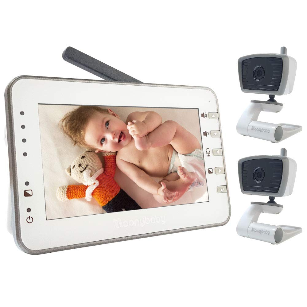 Video Baby Monitor with 2 Cameras, 4.3 Inches Large Screen by Moonybaby, Non-WiFi, Power Saving, VOX, Voice Activation, Auto Night Vision, Temperature Monitoring, 2-Way Talk Back, Long Battery Life by moonybaby