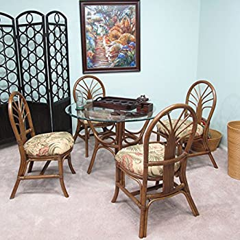 Premium Rattan Dining Furniture Sundance 5PC Set Panama Tropic Tropical  Jacquard Fabric (Walnut Finish)