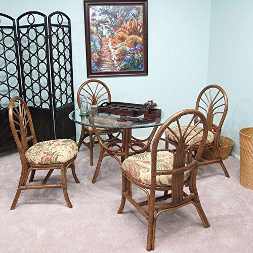 Premium Rattan Dining Furniture Sundance 5PC Set Panama Tropic Tropical Jacquard Fabric (Walnut Finish)