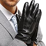 Leather Gloves for Mens, Full-Hand Touchscreen Gift Packaging Cold Weather Gloves