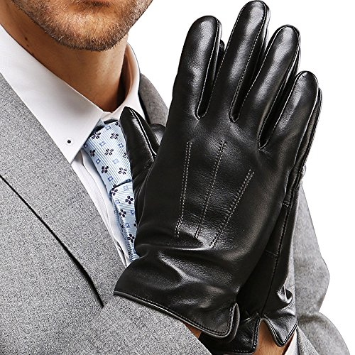 Harrms Best Touchscreen Nappa Genuine Leather Gloves for men's Texting Driving Cashmere Lining (L-8.9'(US Standard Size), BLACK(CASHMERE LINING ))