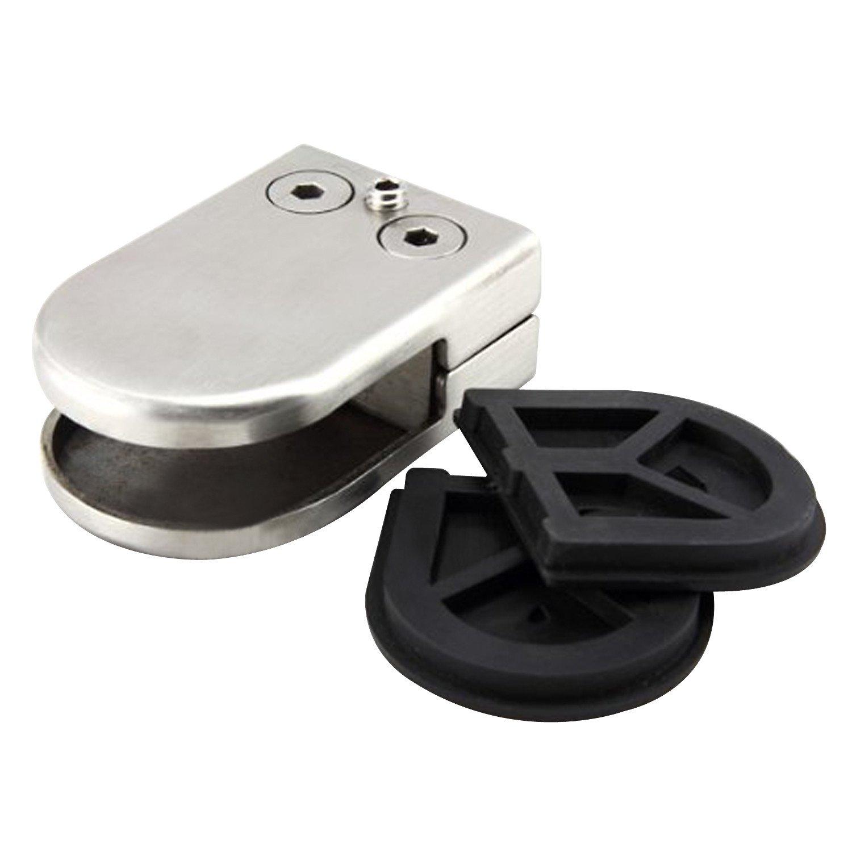 Discoball 12 PCS 8-10mm Abrazaderas de Vidrio Acero Inoxidable 304 Clip de Vidrio Soporte Ajustable Parte Trasera Plana para Escalera Barandilla