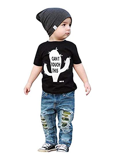 7365ee557 Amazon.com: Guyay Kids Toddler Baby Boy Outfits Clothes Short Sleeve T-Shirt  and Denim Hole Jeans Pants Sets: Clothing