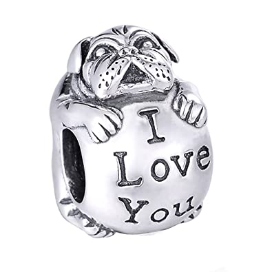 I Love You Bulldog Charm Bead - Sterling Silver 925 - Gift boxed