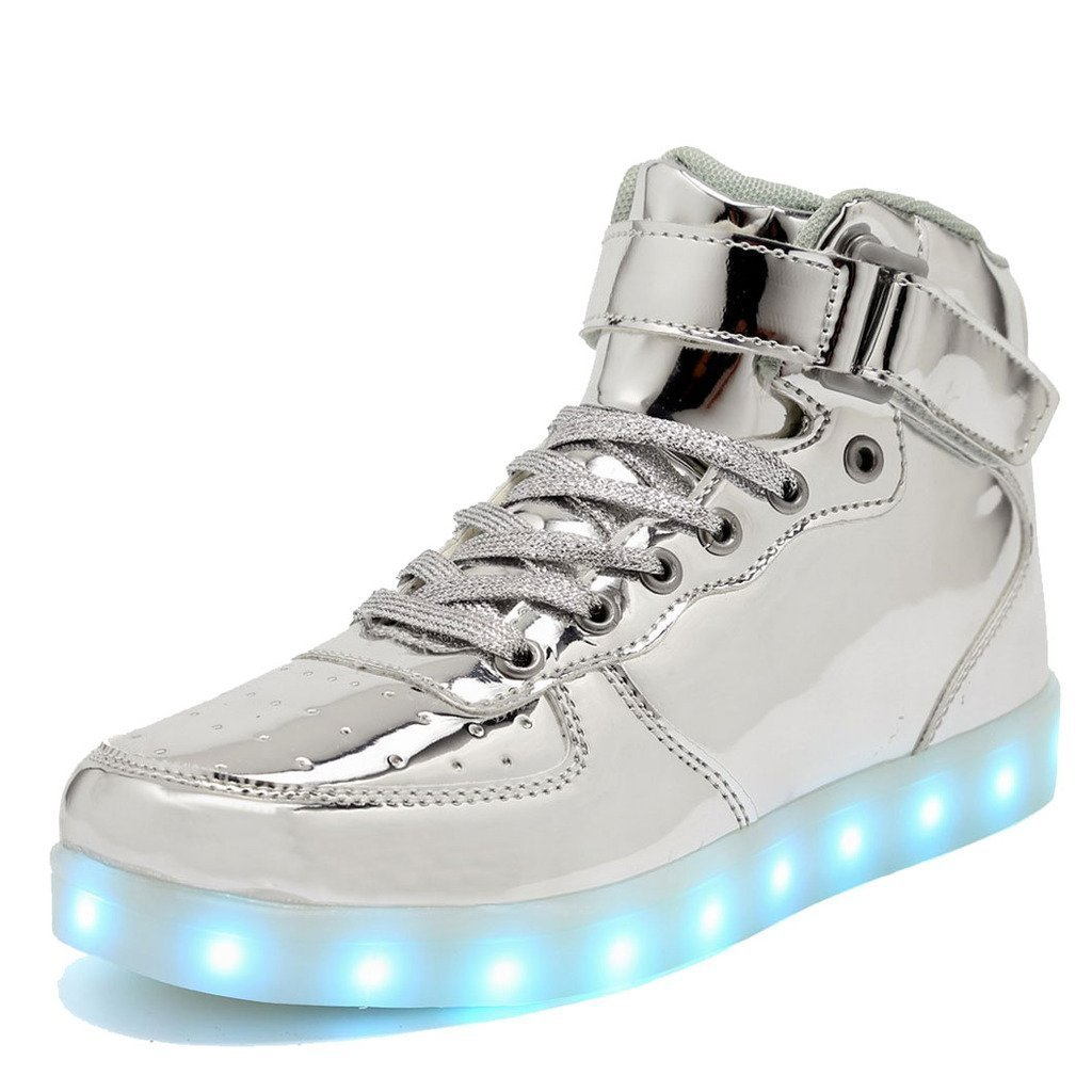 High Top LED Shoes LED Light Up Sneaker & 11 Color Light & USB Charger for Mens Womens Christmas gift (Silver 44/13 B)