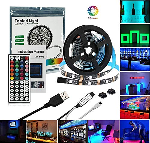 Lights Monitor - LED TV Backlight,Topled Light USB LED Strip Light 6.56ft(2M) with 44Keys Remote Controller, Extra Adhesive 3M Tape, Flexible Changing Multi-Color Lighting Strips for Party/Home Decoration( 2M)