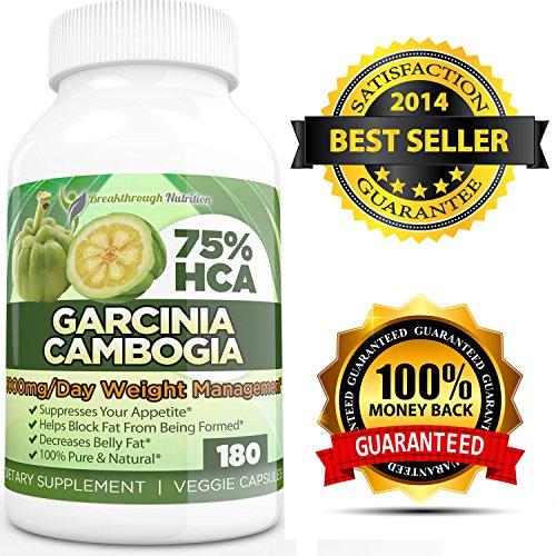 Гарцинии камбоджийской Чистый экстракт 75% HCA Прорыв Nutrition в Potent Fat Burner 3000 мг - 180 Veggie капсулы - Самые эффективного и действенного гарцинии камбоджийской на Амазонке - Проверенная Потеря веса Fat Burner и природные подавления аппетита!