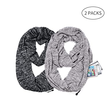 6b77c5baf65c Infinity Scarf with Hidden Zipper Pocket, Fashion Rayon Scarves for ...